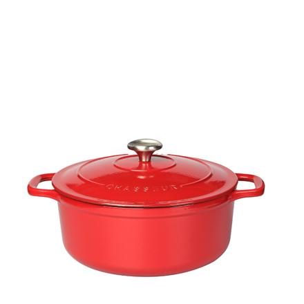 Chasseur Round Casserole 28cm/6.3L - Chilli Red