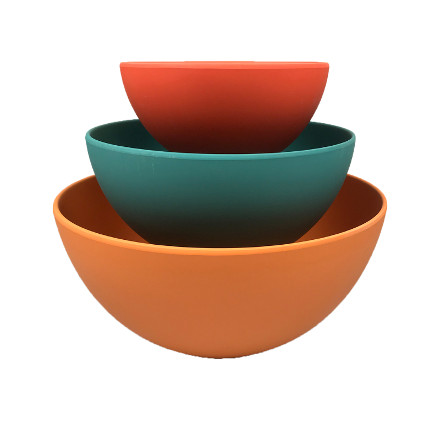 School of Wok Bamboo Fibre Mixing Bowls  Set of 3 Multicoloured