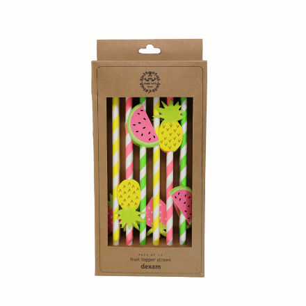 Summer Garden Fruit Topper Straws Pack/12