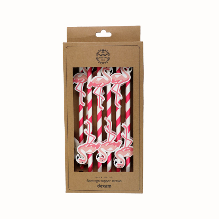 Summer Garden Flamingo Straw Toppers Pack/12