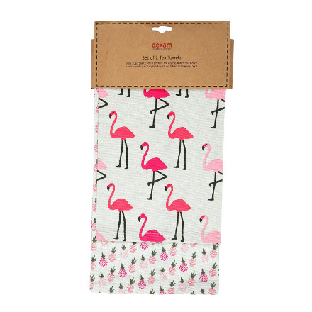 Flamingo Set of 2 Tea Towels Pink