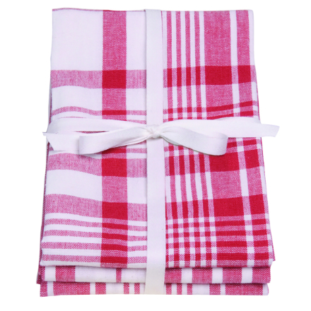 Dexam Love Colour Set Of 3 Extra Large Tea Towels - Scarlet
