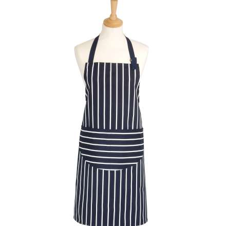 Rushbrookes Classic Butchers Stripe Apron - Navy