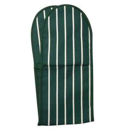 Rushbrookes Classic Butchers Stripe Double Oven Glove - Racing Green