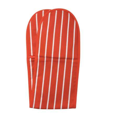 Rushbrookes Classic Butchers Stripe Double Oven Glove - Red