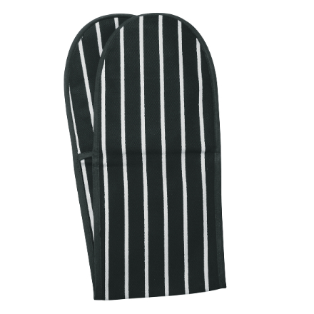 Butchers Classic Stripe Double Oven Glove - Slate Grey