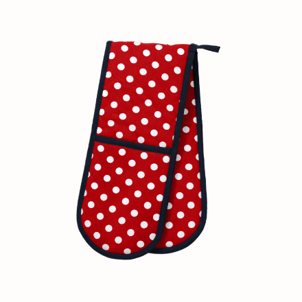 Polka Double Oven Glove Red