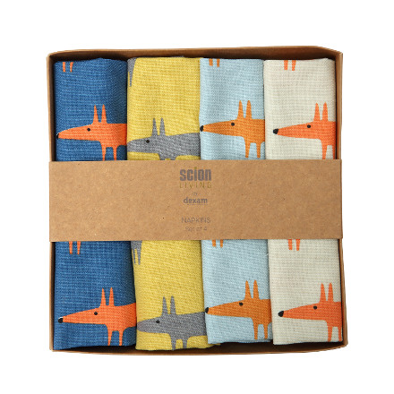 Scion Mr Fox Set of 4 Napkins - Multi