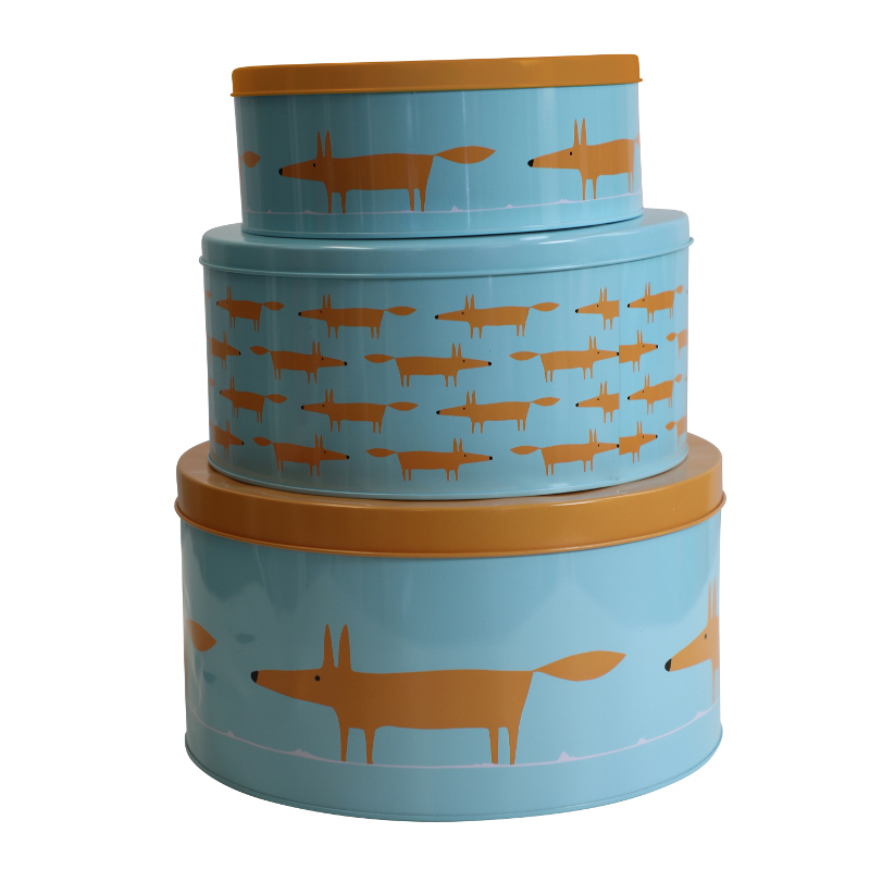 Scion Mr Fox Cake Tins Set/3 1.3L/3L/5.3L  Blue