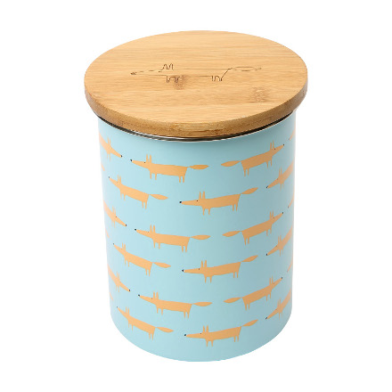 Scion Mr Fox Biscuit Storage Jar  blue (all over fox print)
