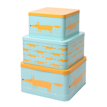 Scion Mr Fox Set of 3 Square Cake Tins Blue