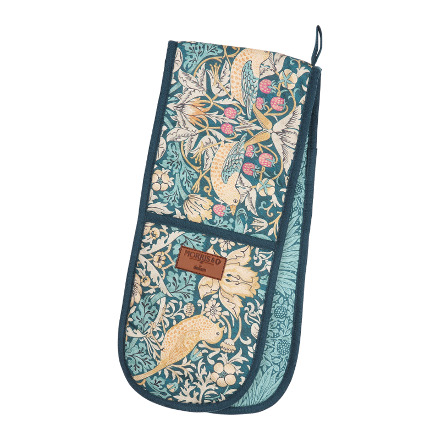 Morris & Co Strawberry Thief Double Oven Glove Teal