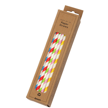 Striped Straws Pack/50 Assorted Colours