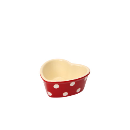 Dexam Polka Dot Heart Ramekin - Claret Red